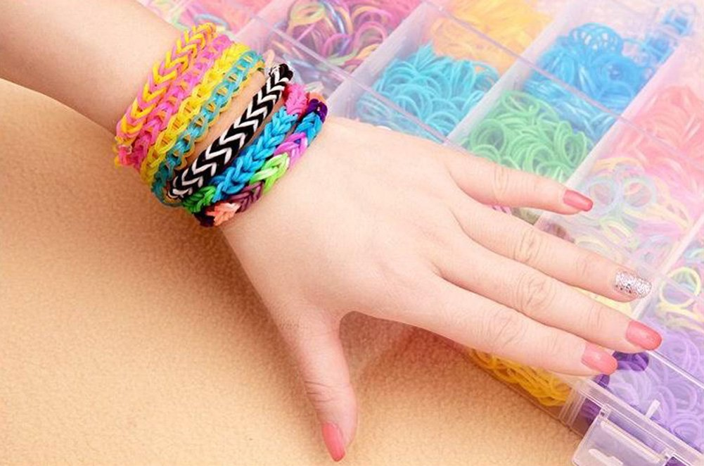 bands small photo loom pile colorful of rainbow hand making image child round and download white rubber bracelets stock little background