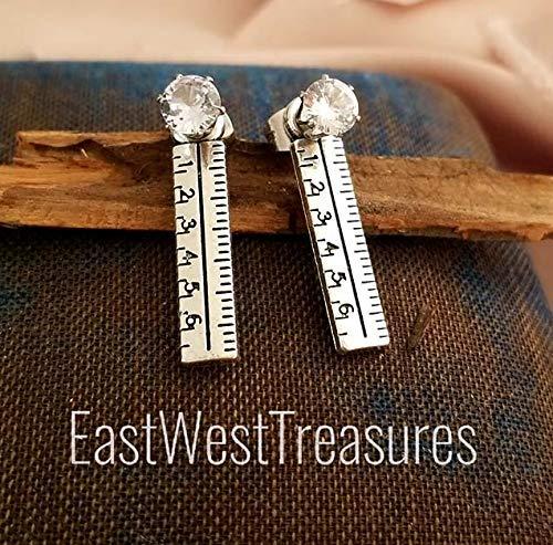 Silver Architect Teacher's Ruler earrings for women teens-teacher Mentor jewelry gifts-Steel -