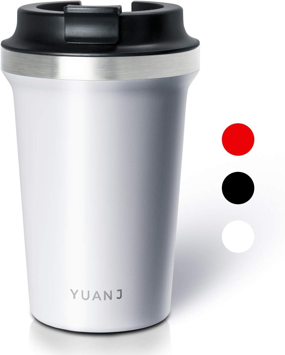 Yuanj Taza t/érmica para llevar 350 ml, acero inoxidable, doble pared y aislamiento al vac/ío color blanco