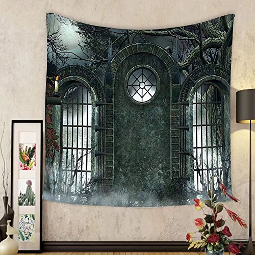 Gzhihine Custom tapestry Horror House Decor Tapestry Moonrise Magic Landscape with Empty Rural Path to Pines Dramatic Vampire Way for Bedroom Living Room Dorm Gray