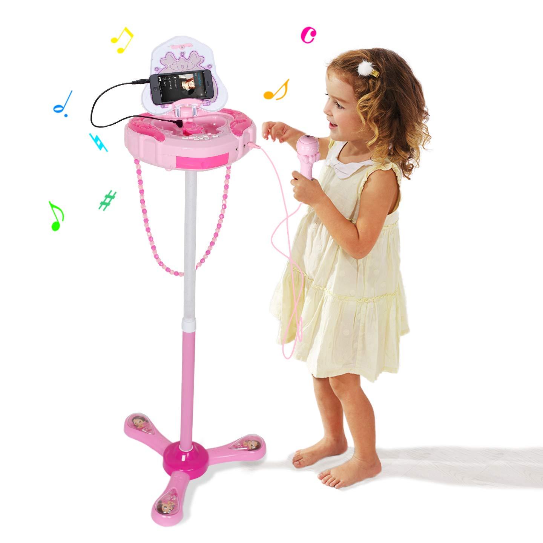 Kids Karaoke Microphone Musical Toys - Happytime Kids Pink Karaoke Adjustable Stand & Shoulder Bag with External Music Function & Flashing Lights Toy for Kids Children Girls by Happy Time (Image #2)