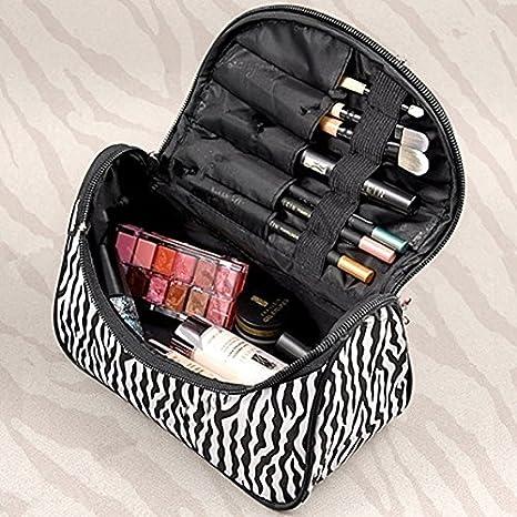 AT-1 - Estuche de maquillaje para mujer, patrón moderno de cebra, bolsa de aseo portátil para almacenar y organizar los cosméticos, para viaje
