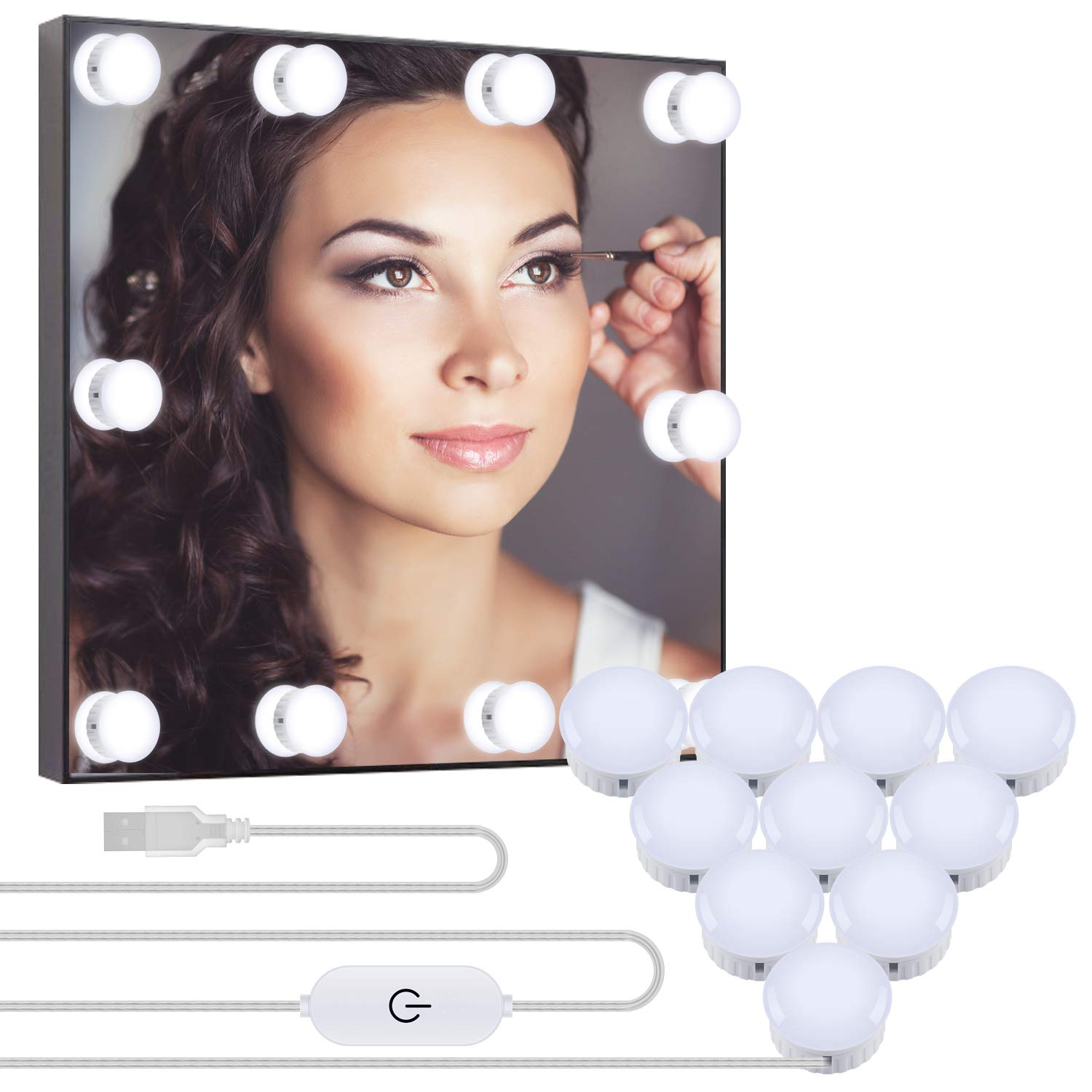 OUSFOT Vanity Mirror Lights USB Cable Hollywood Mirror Lights 10 Dimmable Bulbs LED Makeup Light 12.5ft Adjustable with 5 Brightness Modes (No Mirror and Plug)