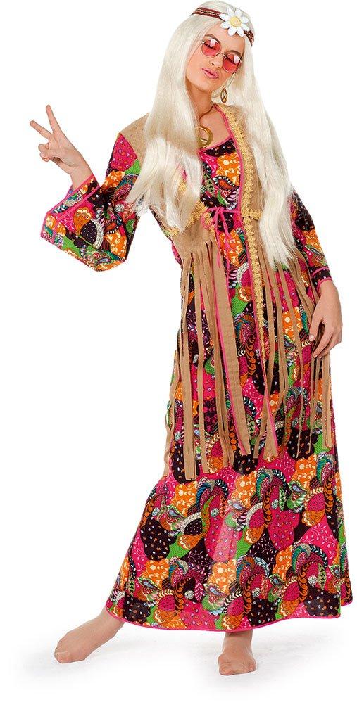 Karneval Klamotten Hippie Kleid Kostüm Damen Flower-Power Kostüm Damen Peace Kleid lang bunt mit angenähte Weste Damen-Kostüm Größe 52