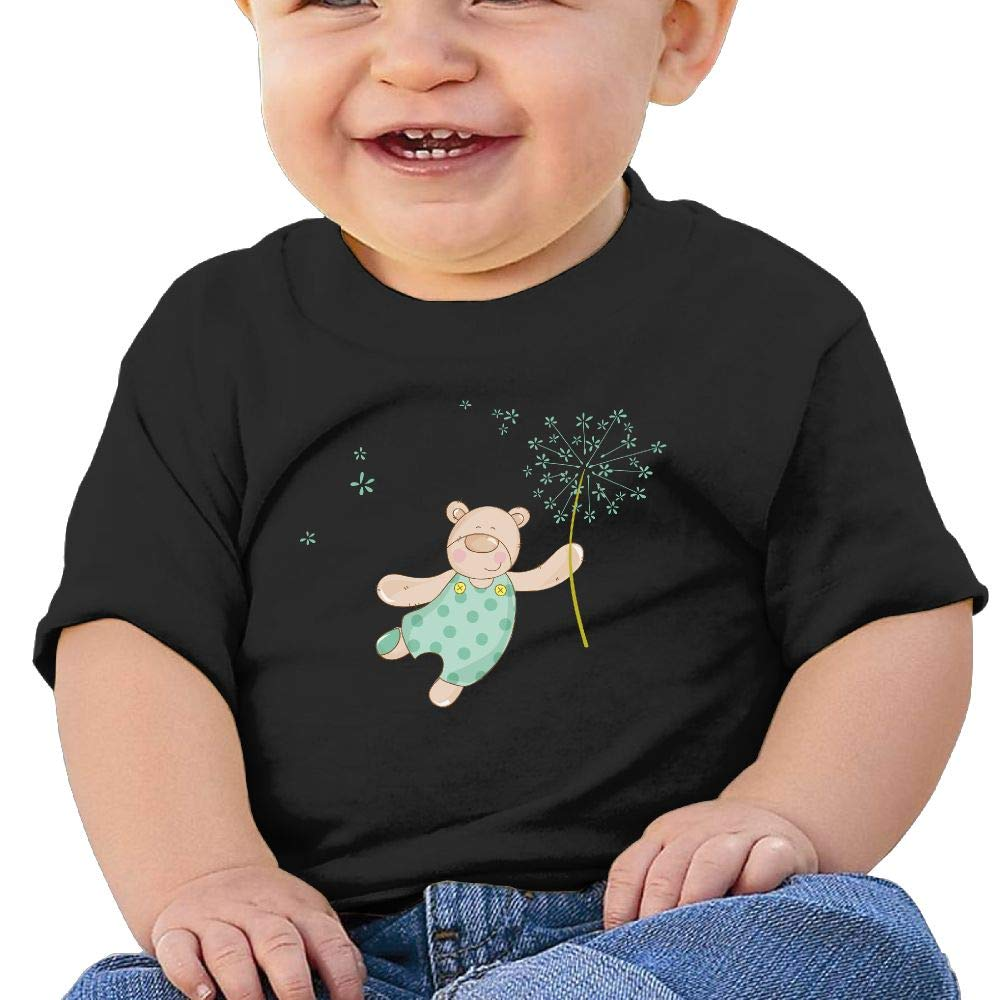 AiguanTeddy Bear Toddler//Infant Short Sleeve Cotton T Shirts Black