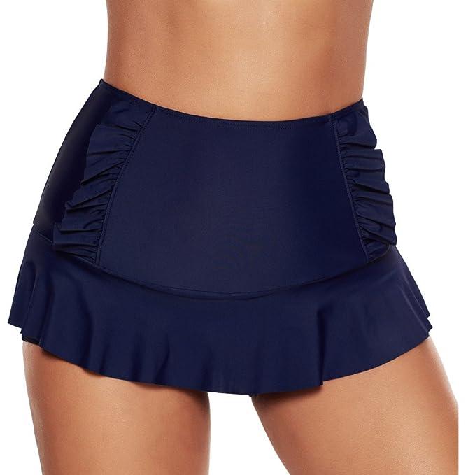 3974a66a3e2 Amazon.com: ninovino Women's Swim Bottoms High Waisted Ruffle Tankini  Boyshorts with Brief: Clothing