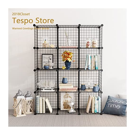 Tespo Metal Wire Storage Cubes, Modular Shelving Grids, DIY Closet  Organization System, Bookcase