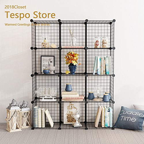 Tespo Metal Wire Storage Cubes, Modular Shelving Grids, DIY Closet Organization System, Bookcase, Cabinet, (12 - Regular (Black Office Furniture)