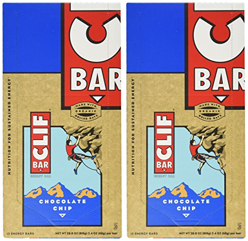 Clif Bar Energy Bar, Chocolate Chip, 2.4-Ounce Bars, 12 Count (Pack of 2) (Apple Beauty Juice Cane)