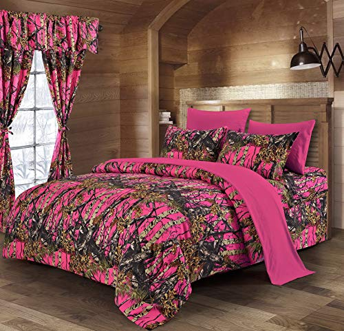 Hemau The Woods h Viz Pink Camouflage Queen 8pc Premium Comforter, Sheet, Pillowcases, and Bed Skirt Set Camo Bedding Set for Hunters Cabin or Rustic Lodge Teens Boys and Girls ()
