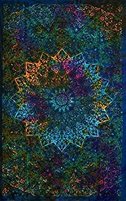 GLOBUS CHOICE INC. Twin Blue Tie Dye Bohemian Tapestry Elephant Star Mandala Tapestry