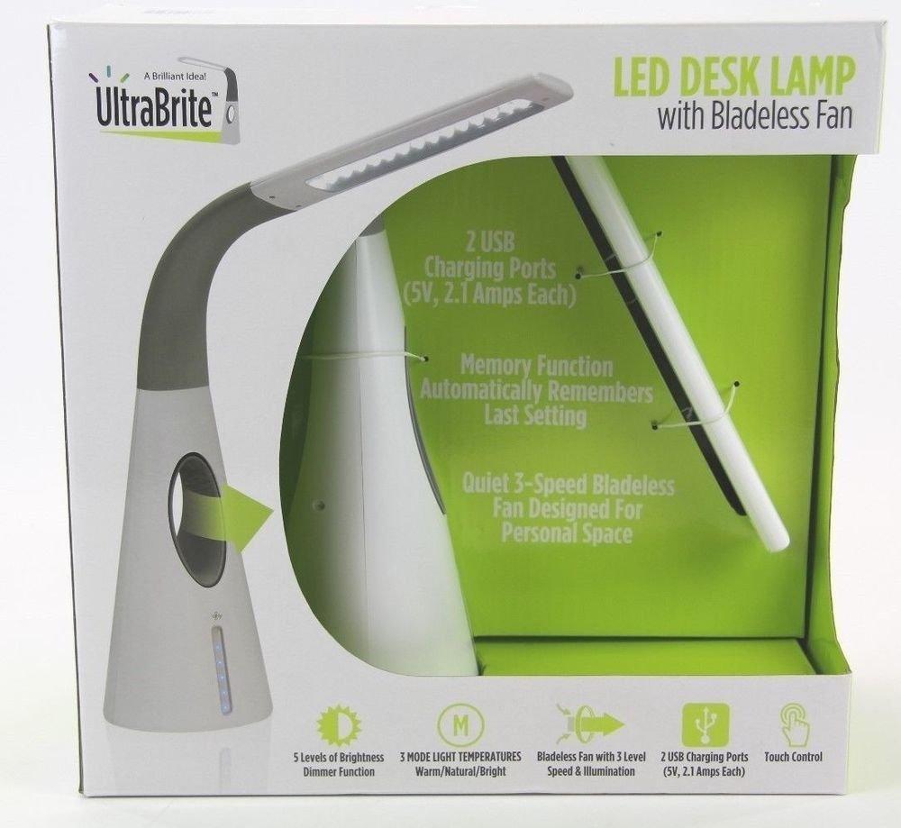 Ultra Brite LED Desk Lamp with Bladeless Fan
