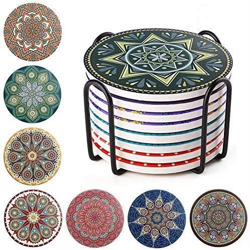 Top Flite Mandala Ceramic Coaster Ash Tray Set of Four in Box