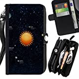 Graphic4You Solar System Map Space Astrology Design Zipper Wallet With Strap Card Holder Case Cover for Samsung Galaxy Grand Prime