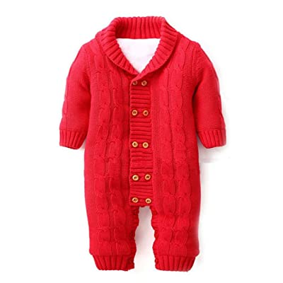 3bac14abd49a5 Clearance Baby Winter Clothes Warm Infant Boy Girl Fleece Thickened Knitted  Sweater Jumpsuit Snowsuit