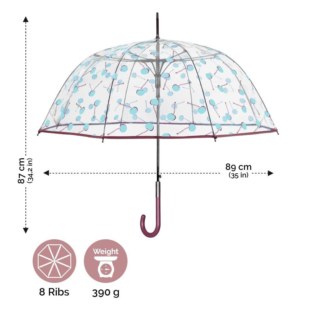 Cerises Bleu Clair Parapluie Canne Cloche Bordure Bordeaux en PEG Ouverture Automatique Perletti Chic Diam/ètre 89 cm R/ésistant au Vent en Fibre de Verre Parapluie Transparent Femme