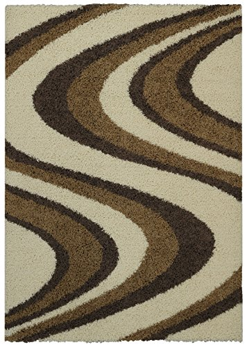 Soft Shag Area Rug 5x7 Swirl Striped Ivory Beige Shaggy Rug - Contemporary Area Rugs for Living Room Bedroom Kitchen Decorative Modern Shaggy Rugs