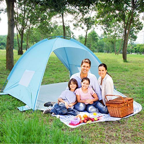 ALPIKA Beach Tent Sun Shelter 3-4 Person UV Sun Protection of UPF 50 Waterproof Camping Tent Easy Set Up Tent for Outdoor