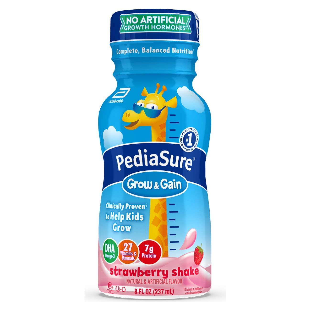 PediaSure Grow & Gain Kids Nutritional Shake, with Protein, DHA, and Vitamins & Minerals, Strawberry, 8 fl oz, 24 Count
