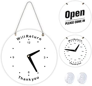 Will Return Sign, Open Sign, 2 Pack Double Side Will Return Clock/Date Sign & Open Please Come in Sign Store Sign Business Sign with Chain for Door Window Restaurant Bar Retail Barber Shop Salon Shop