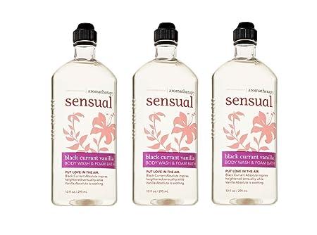 Bath Body Works Aromatherapy Sensual Black Currant Vanilla Foam Bath Body Wash 10oz Bottles 3 pack
