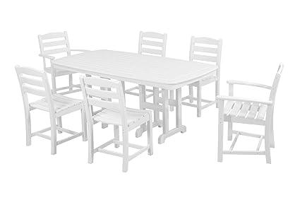 POLYWOOD PWS131 1 WH La Casa Café 7 Piece Dining Set, White
