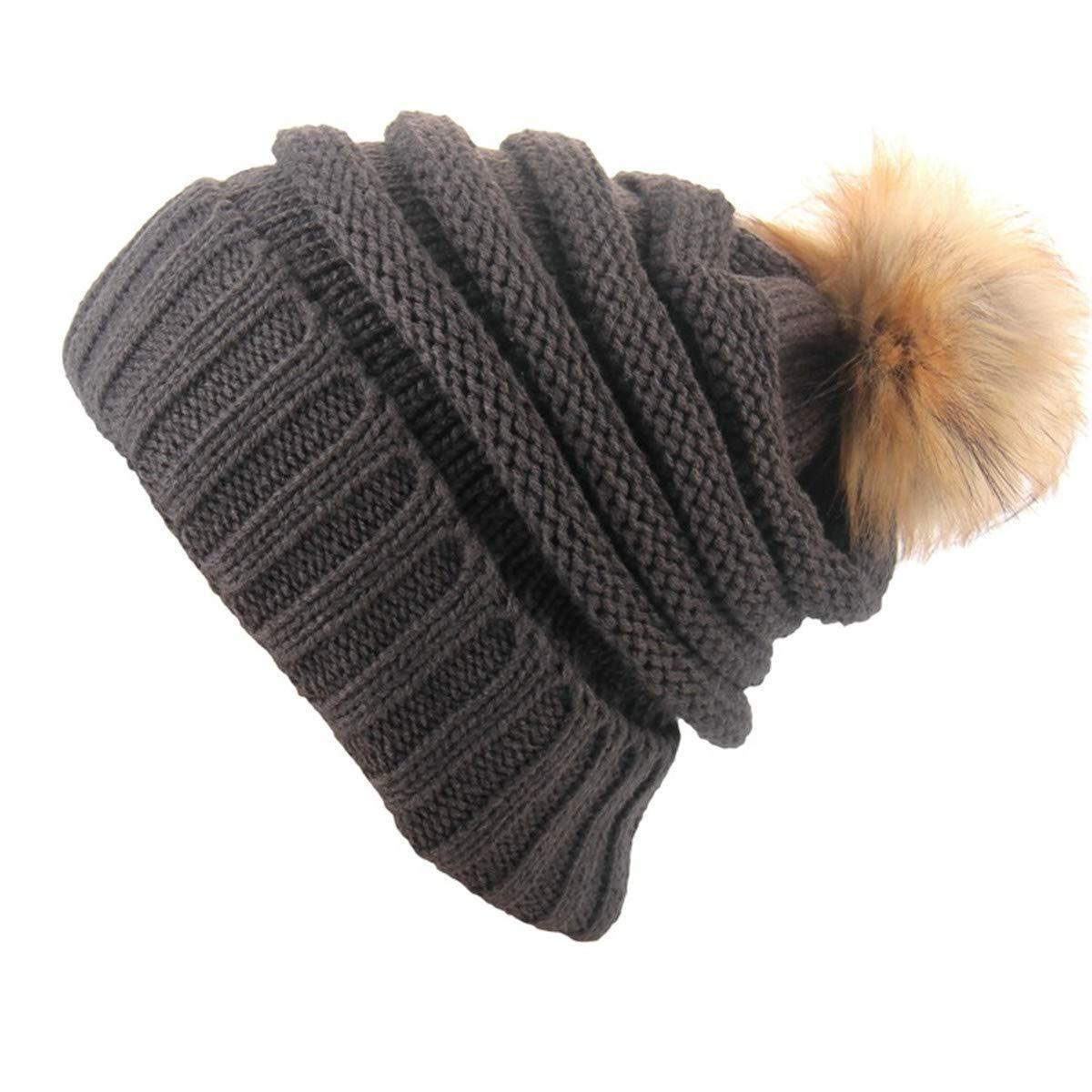 ECYC Women Pompom Beanies Hat Fashion Knit Bobble Ski Beanie Cap