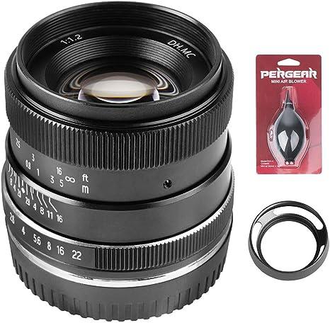 PERGEAR 35 mm F1.2 lente de enfoque manual de gran apertura compatible con Panasonic G/GH/GX, Olympus EP/EM/EPL M4/3 cámara sin espejo de la serie: Amazon.es: Electrónica