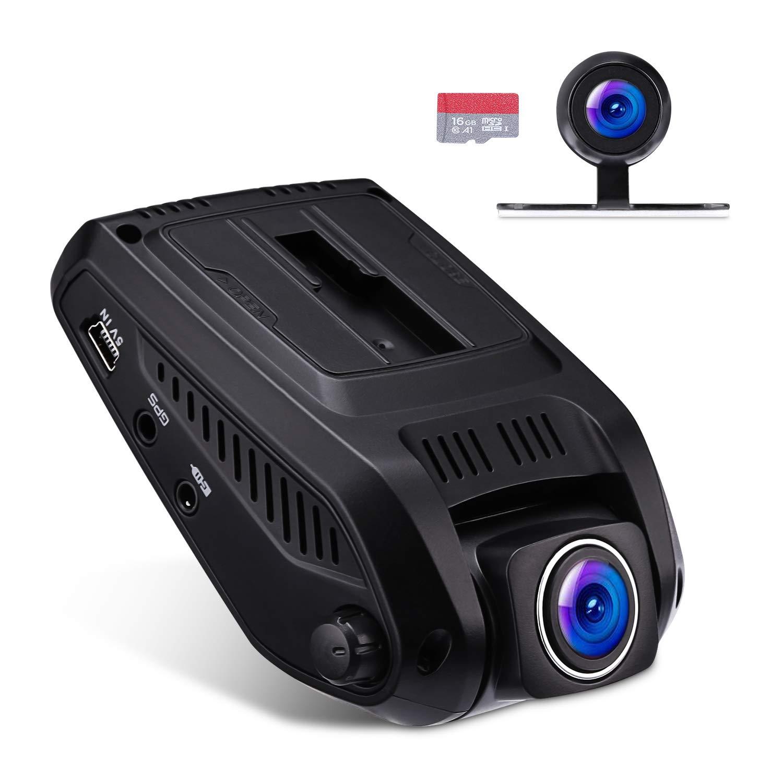 """VETOMILE Cámara de Coche Delantero y Trasero, 1080P FHD 2.4"""" LCD Car Dual Dash Cam con 170° Gran Ángulo, WIFI Incorporado, G-Sensor, Grabación en Bucle, Detección de Movimiento, Visión Nocturna Estupenda, 16GB T"""