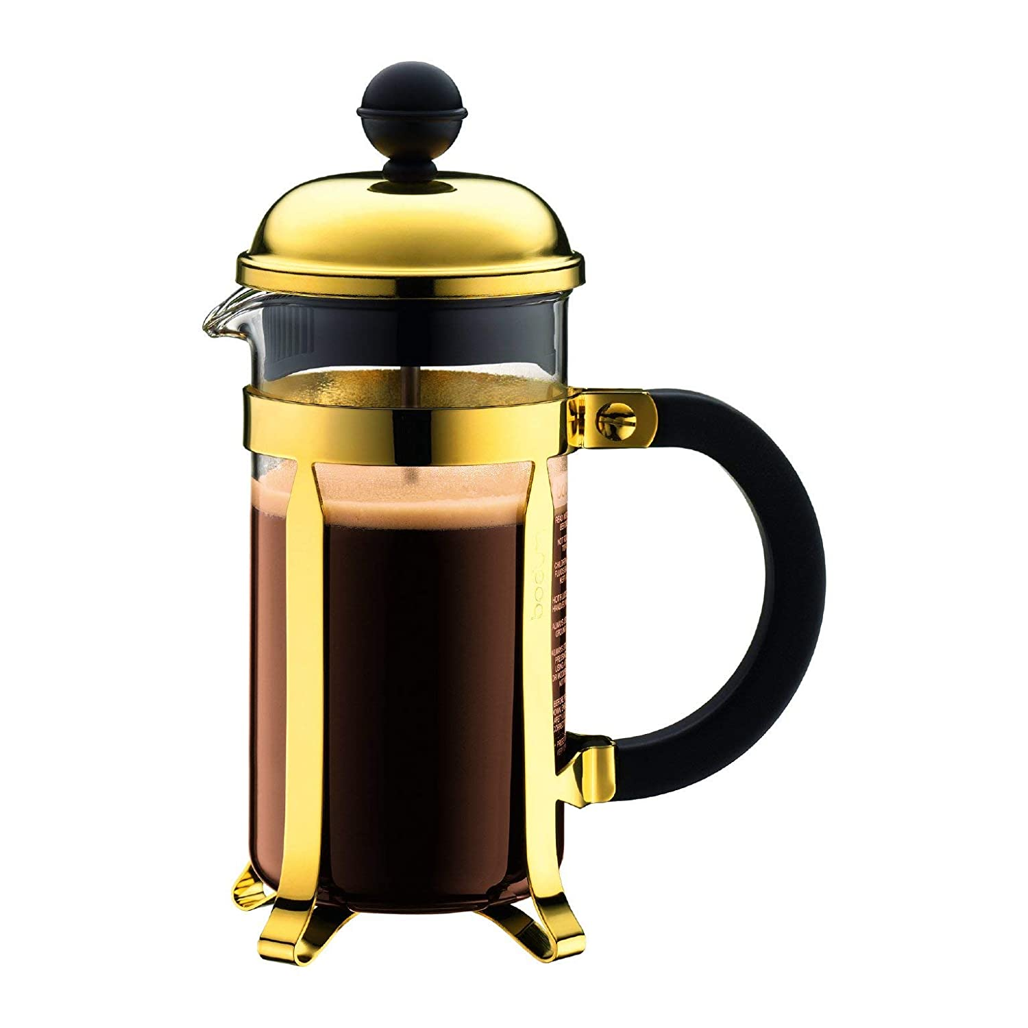 3 Cups//0.35l French Press Cafetiere Bodum Chambord Gold Borosilicate Glass Plastic Steel and Silicone