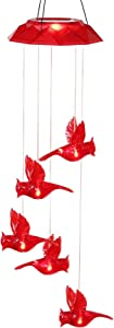 TZSSP Wind Chime Solar Chimes Warm Light Solar Waterproof Wind Bell Light for Home Party Night Garden Patio Decoration,Red Bird