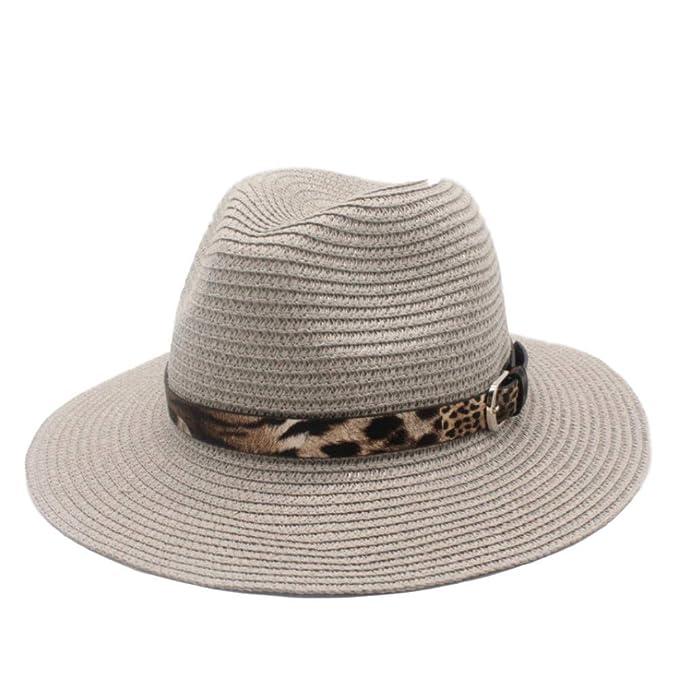 52dc266cc9b4e Rjjdd Moda Verano Mujer Toquilla Paja Panamá Sombrero De Sol para Elegante  Señora Reina Floppy Ancho ala Bobo Sunbonnet Playa Fedora Gris Sombra   Amazon.es  ...