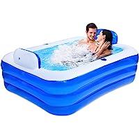 MEYENG Piscina hinchable rectangular Family de PVC grueso, apta para 2 niños, para exterior e interior, piscina exterior rectangular, 180 x 140 x…
