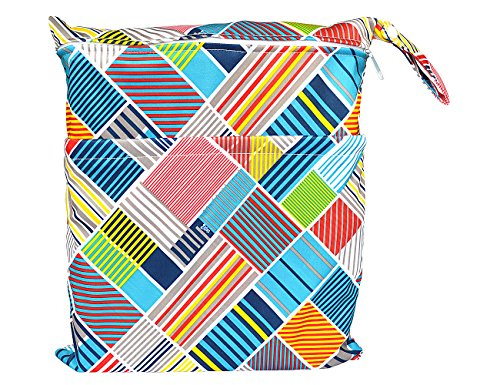 Wet Dry Bag Baby Cloth Diaper Nappy Bag Reusable with Two Zippered Pockets (Cornfield)