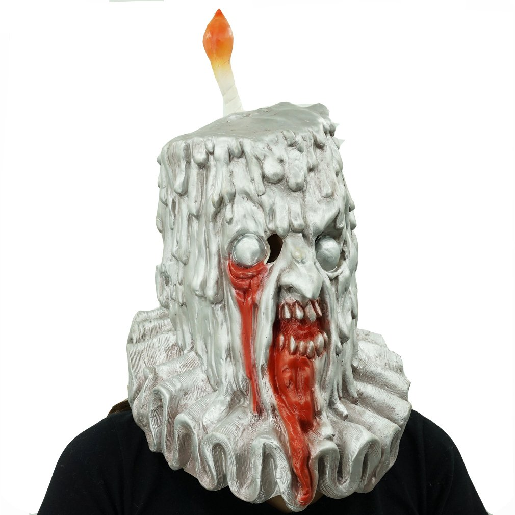 Amazon Scary Candle Ghost Latex Mask Evil Zombie Monster Hood Halloween Costume Cosplay Prop Clothing