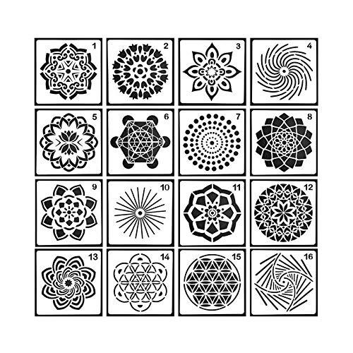 Tela mobili in Legno Dipinto Pawaca 16PCS Mandala punteggia Stencil Modello/ /Diversi Motivi DOT Painting Modelli Art Tools for DIY Rocks Stone Wall Art