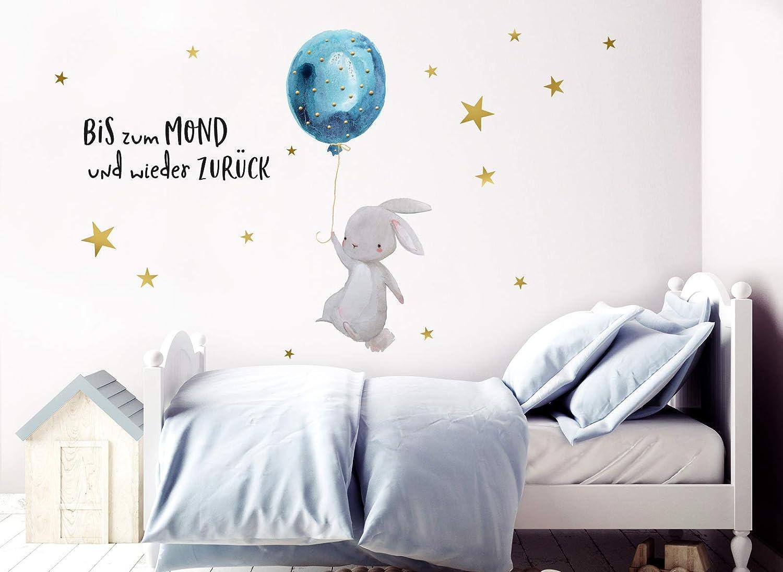 Little Deco Wandtattoo Bis zum Mond /& Hase mit Luftballon I 174 x 102 cm I Kinderzimmer Babyzimmer Aufkleber Sticker Wandaufkleber Wandsticker Kinder DL133 BxH