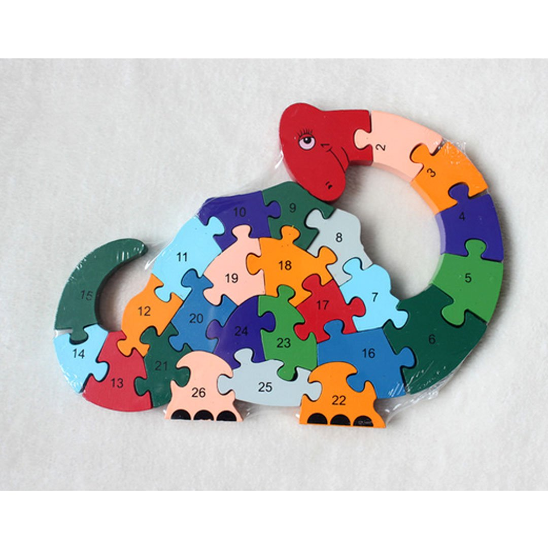 AiSi Wooden Animal Building Jigsaw Puzzle 26pcs Alphabet Numbers Children Learning Educational Blocks Toys for Kids Toddlers Boys Girls,Car