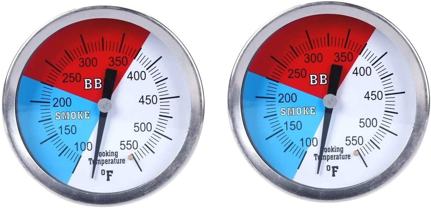 2 pezzi Termometro per grill a carbone con indicatore di temperatura e indicatore di calore GasSaf facile da leggere 100-550F con stelo in acciaio inox da 7,6 cm con diametro di 7,6 cm