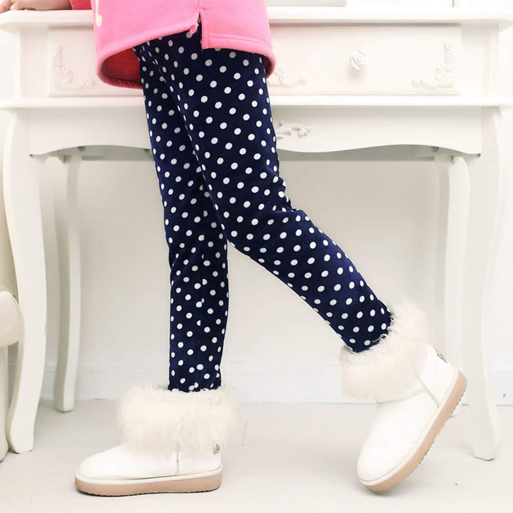 LSHEL Bambini Termo Ragazza Leggins Pantaloni Lunghi di Vita Elastica Stampato Casual