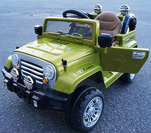 New Limited Edition Jeep Wrangler Style 12v Power Wheels Ride on Car with Leather Seat,Opening Doors,Music, Remote Control