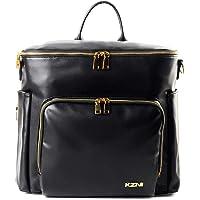 Leather Diaper Bag Backpack, Diaper Travel Carry Bag, Nappy Baby Bag for Grils, Mom, Diaper Bag with Stroller Hanger…