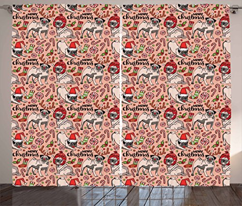 Ambesonne Pug Curtains, Merry Christmas Dogs Celebrating The