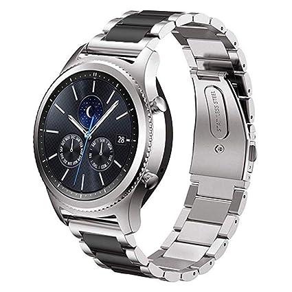 DD Correa para Samsung Gear S3, 22mm Acero Inoxidable Pulseras de Repuesto para Samsung Galaxy Watch/Gear S4 46mm Plata/Negro