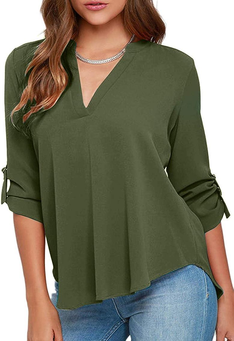 Fashion Womens Summer Casual Long Sleeve Loose Chiffon Tops Shirt Blouse Bu