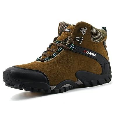 Amazon.com   Aleader Men's Leather Waterproof Hiking Boots Outdoor ...