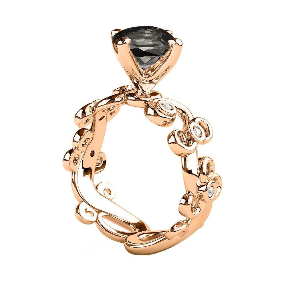 1.06 CTW Black Diamond Ring 14K Rose Gold Filigree Leaf Leaves