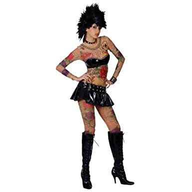 edd5578a85 70s Tattoo Punk Rocker Girl Fancy Dress Costume M: Amazon.co.uk: Clothing