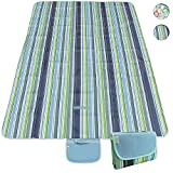 CampTeck Extra Large (200 x 145cm) Folding Picnic Blanket Waterproof Backing Travel Picnic Rug for Outdoors, Beach, Camping with Handle - Blue Stripe