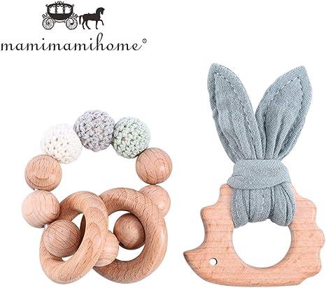 Mamimami Home Beb/é Collar de Silicona Mordedor Beech Anillo de Madera Cuentas de Ganchillo Joyer/ía DIY Juguete de Dentici/ón Natural Org/ánica Regalo de la Ducha de Beb/é